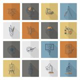 School and Education Icons. School and Education Icon Set. Flat design style. Vector Royalty Free Stock Photos