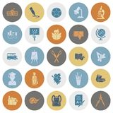 School and Education Icons. School and Education Icon Set. Flat design style. Vector Stock Photos
