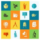 School and Education Icons. School and Education Icon Set. Flat design style. Vector Stock Image