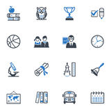 School and Education Icons, Set 3 - Blue Series Royalty Free Stock Images