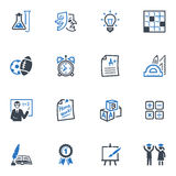 School and Education Icons Set 4 - Blue Series Stock Photos