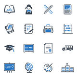 School and Education Icons Set 1 - Blue Series Stock Photo