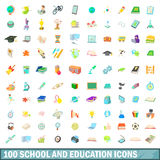100 school and education icons set, cartoon style. 100 school and education icons set in cartoon style for any design vector illustration Stock Photography