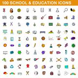 100 school and education icons set, cartoon style. 100 school and education icons set in cartoon style for any design illustration stock illustration