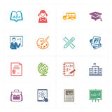 School & Education Icons Set 1 - Colored Series Royalty Free Stock Image