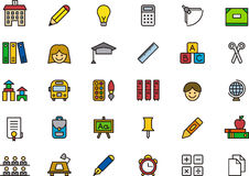 School and education icons. Set of colorful icons relating to school and education on white background Stock Images