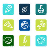 School and education icons set & elements. Vector hand drawn icons blocks collection - blue and green Royalty Free Stock Images