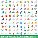 100 school and education icons set. In isometric 3d style for any design vector illustration Stock Photos