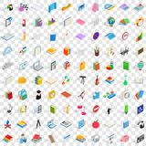 100 school and education icons set. In isometric 3d style for any design vector illustration Royalty Free Stock Photography