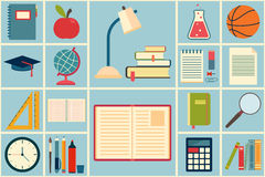 School and education icons set Royalty Free Stock Photo