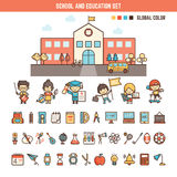 School and education infographics elements for kid vector illustration