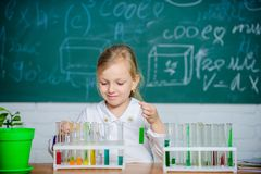 School education. Interesting approach to learn. Future scientist. Explore and investigate. School lesson. Girl cute. School pupil play with test tubes and royalty free stock photo