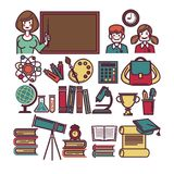 School education and lessons study items and sicence supplies vector flat icons set Stock Photos