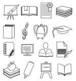 School Education line icons set Stock Photo