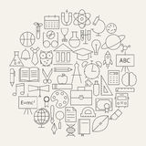 School and Education Line Science Icons Set Circular Shaped Stock Photography