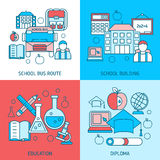School Education Linear Compositions. With bus route study building scientific disciplines diploma  vector illustration Royalty Free Stock Photos