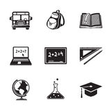 School education monochrome icons set with - globe Royalty Free Stock Photos