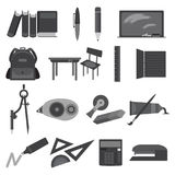 School and education monochrome solid icons Stock Photos