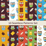 School and Education Owls Flat Seamless Background Patterns Set Royalty Free Stock Photos