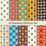 School and Education Owls Flat Seamless Patterns Set Stock Photography