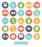 School and Education Round Color Icon Set Royalty Free Stock Photos