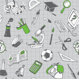 School And Education Seamless Pattern Stock Photo