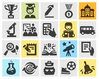 School, education set black icons. Stock Image