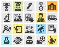 School, education set black icons. Stock Image