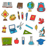 School and education set of hand drawn doodles Royalty Free Stock Photo