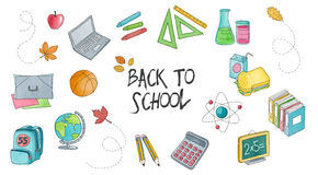 Back to school set of hand drawn illustrations Royalty Free Stock Photo