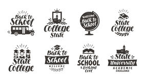 School, education set icons. Beautiful calligraphic lettering. Label vector illustration Stock Image