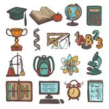 School education sketch icons Stock Images