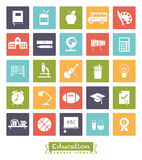 School and Education Square Color Icon Set vector illustration