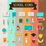 School and education sticker icons set Royalty Free Stock Photo