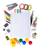 School education supplies items Stock Photos