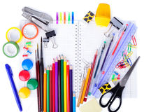 School education supplies items Stock Photo