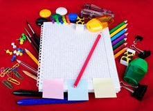 School education supplies items on a red Stock Photo