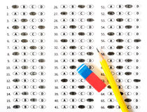 School and Education. Test score sheet with answers Stock Image