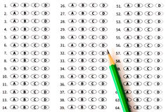 School and Education. Test score sheet with answers Royalty Free Stock Image