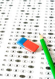 School and Education. Test score sheet with answers Stock Images