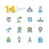 School and Education - thick line icons set. School and education - modern vector thick line design icons set with accent color. School building, female teacher Royalty Free Stock Photography