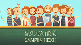 School Education Title Advertisement Cartoon Poster Stock Photography