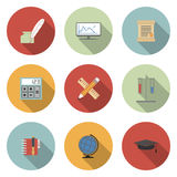 School and Education Vector Flat Icons Set Stock Photography
