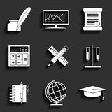 School and Education Vector Flat Icons Set Royalty Free Stock Images