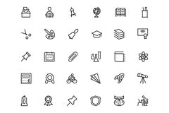 School and Education Vector Line Icons 2 Royalty Free Stock Images