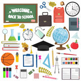 School and education workplace items. Vector flat illustration of school supplies. Isolated school, education workspace accessories on white background Stock Photography