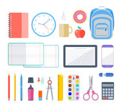 School and education workplace items Stock Photos