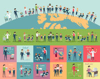 School Education in the World Concept. Pupils and teachers holding hands around the globe. Set of illustrations with learning process, pupils in school uniform Royalty Free Stock Photography