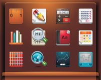 School and educational apps. Mobile devices apps/services icons. Part 12 of 12 Royalty Free Stock Images