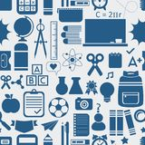 School and educational icons, background, and seamless pattern Royalty Free Stock Image